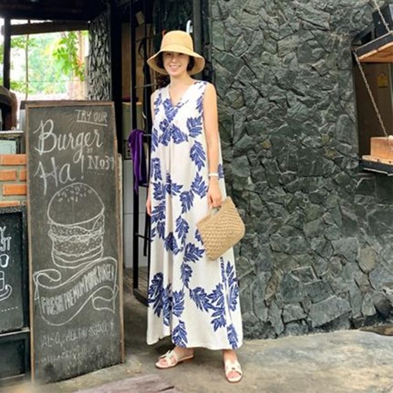 韓国 ファッション ワンピース 夏 春 カジュアル PTXI724  ゆったり Aライン マキシ丈 リゾートドレス オルチャン シンプル 定番 セレカジの写真4枚目