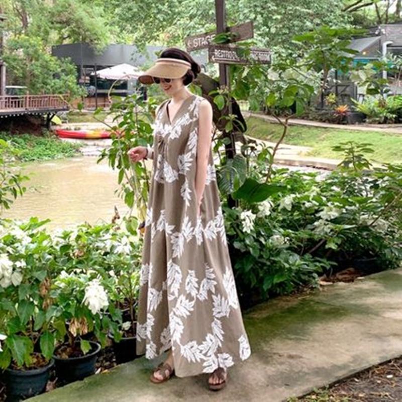韓国 ファッション ワンピース 夏 春 カジュアル PTXI724  ゆったり Aライン マキシ丈 リゾートドレス オルチャン シンプル 定番 セレカジの写真5枚目