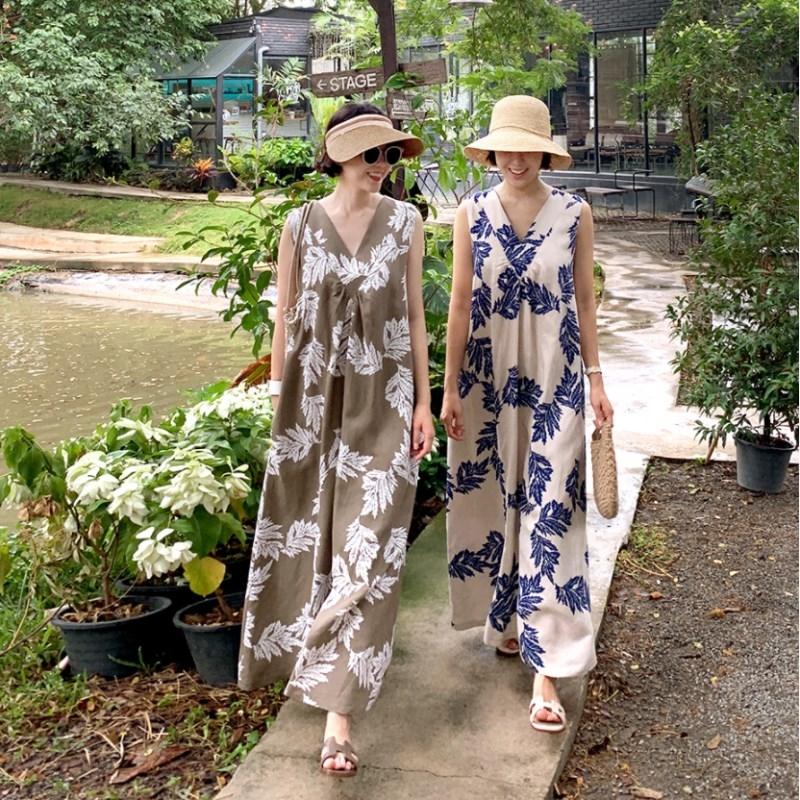 韓国 ファッション ワンピース 夏 春 カジュアル PTXI724  ゆったり Aライン マキシ丈 リゾートドレス オルチャン シンプル 定番 セレカジの写真6枚目