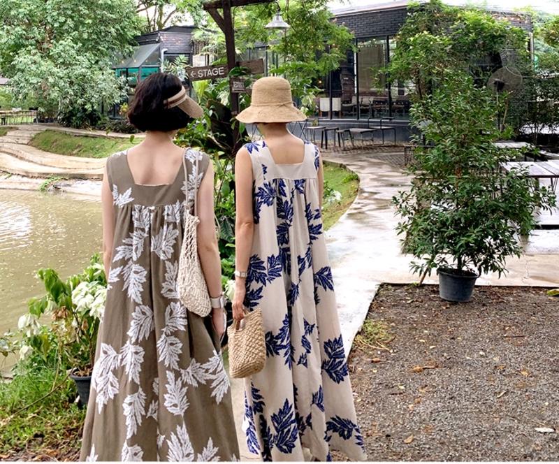 韓国 ファッション ワンピース 夏 春 カジュアル PTXI724  ゆったり Aライン マキシ丈 リゾートドレス オルチャン シンプル 定番 セレカジの写真7枚目
