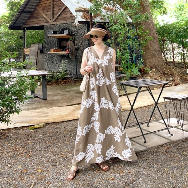韓国 ファッション ワンピース 夏 春 カジュアル PTXI724  ゆったり Aライン マキシ丈 リゾートドレス オルチャン シンプル 定番 セレカジの写真8枚目