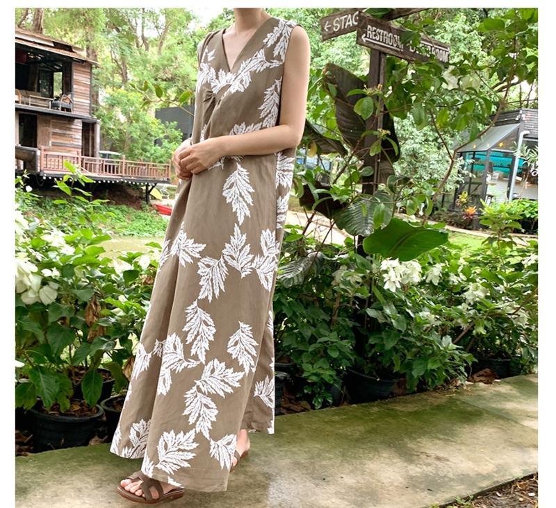 韓国 ファッション ワンピース 夏 春 カジュアル PTXI724  ゆったり Aライン マキシ丈 リゾートドレス オルチャン シンプル 定番 セレカジの写真9枚目