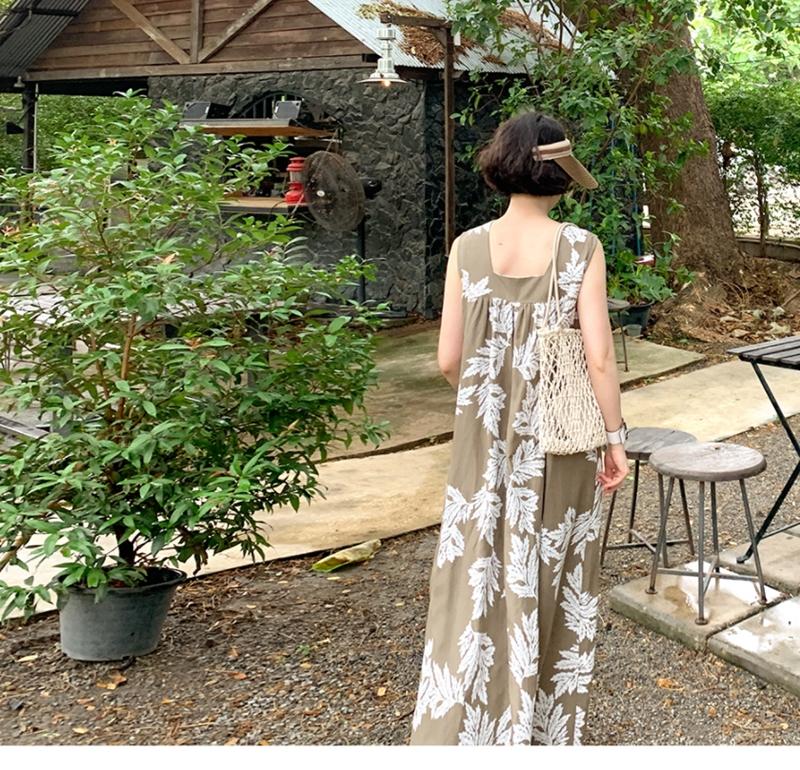 韓国 ファッション ワンピース 夏 春 カジュアル PTXI724  ゆったり Aライン マキシ丈 リゾートドレス オルチャン シンプル 定番 セレカジの写真12枚目