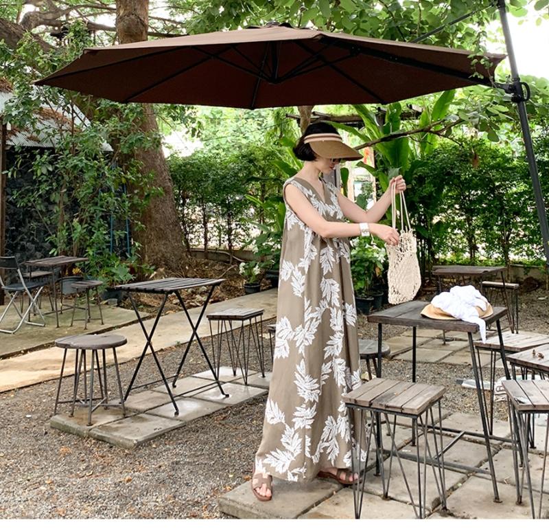 韓国 ファッション ワンピース 夏 春 カジュアル PTXI724  ゆったり Aライン マキシ丈 リゾートドレス オルチャン シンプル 定番 セレカジの写真13枚目