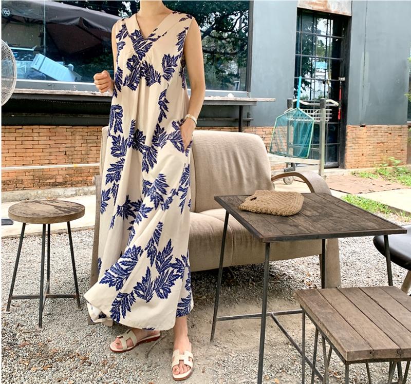 韓国 ファッション ワンピース 夏 春 カジュアル PTXI724  ゆったり Aライン マキシ丈 リゾートドレス オルチャン シンプル 定番 セレカジの写真16枚目