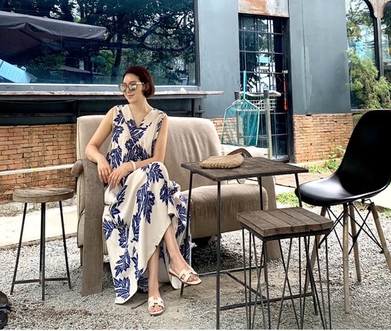 韓国 ファッション ワンピース 夏 春 カジュアル PTXI724  ゆったり Aライン マキシ丈 リゾートドレス オルチャン シンプル 定番 セレカジの写真17枚目