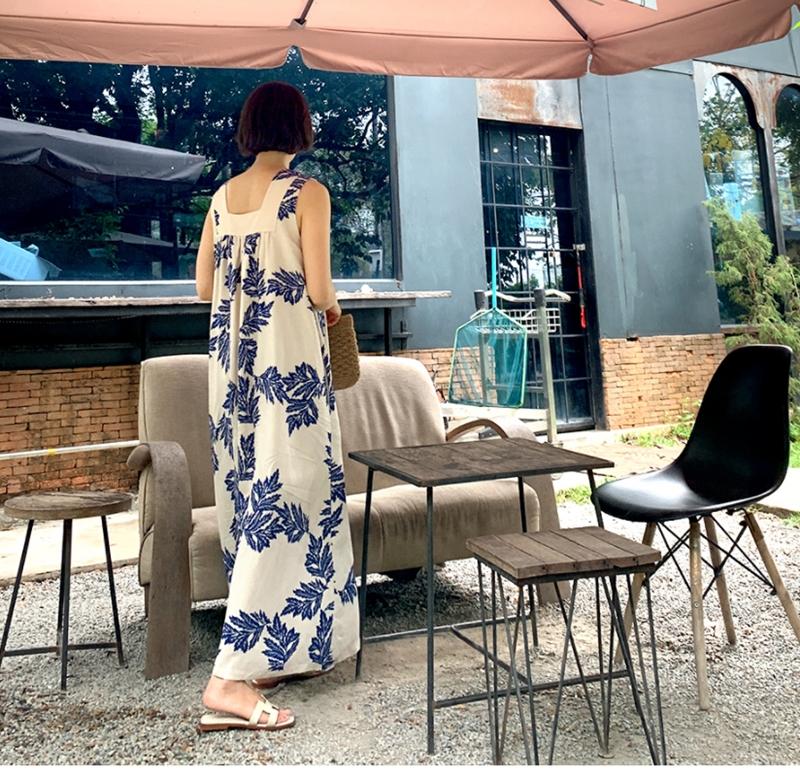韓国 ファッション ワンピース 夏 春 カジュアル PTXI724  ゆったり Aライン マキシ丈 リゾートドレス オルチャン シンプル 定番 セレカジの写真18枚目