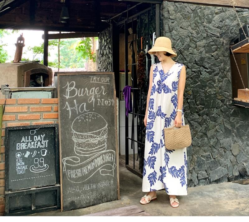 韓国 ファッション ワンピース 夏 春 カジュアル PTXI724  ゆったり Aライン マキシ丈 リゾートドレス オルチャン シンプル 定番 セレカジの写真19枚目