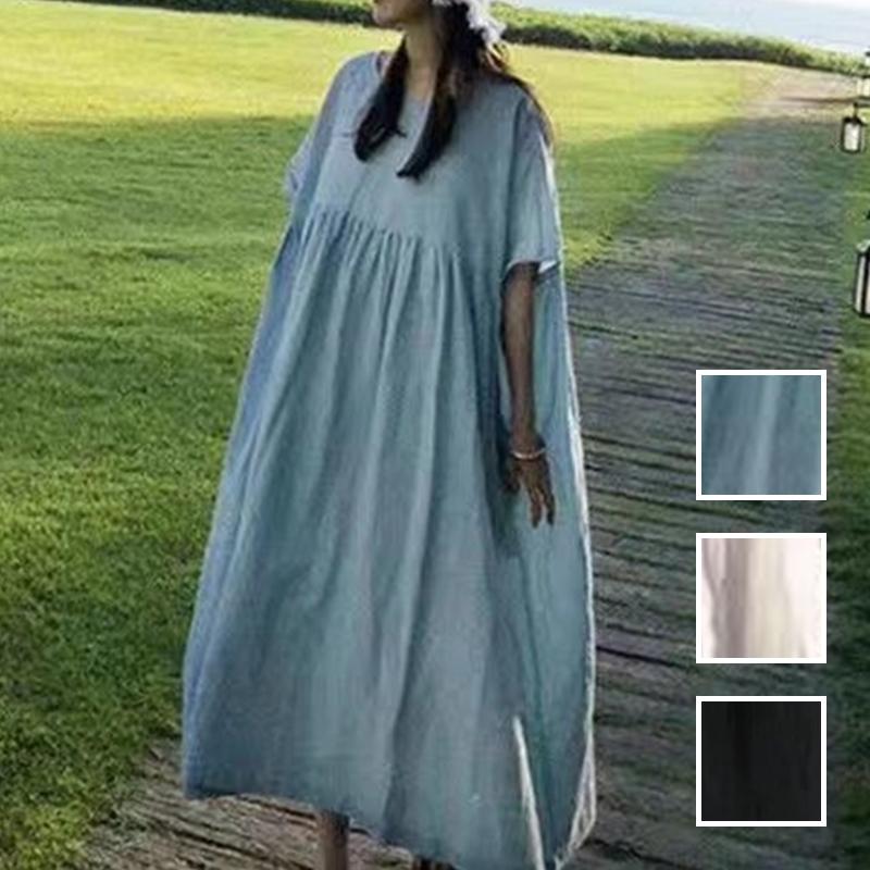 韓国 ファッション ワンピース 夏 春 カジュアル PTXI727  ゆったり ビッグシルエット マキシ リゾート オルチャン シンプル 定番 セレカジの写真1枚目
