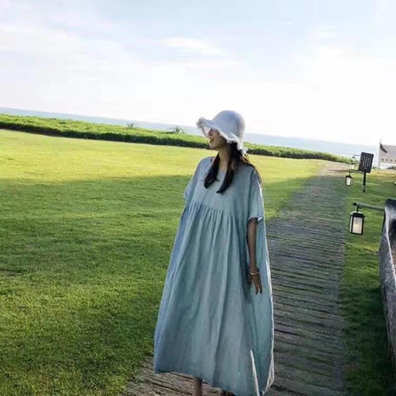 韓国 ファッション ワンピース 夏 春 カジュアル PTXI727  ゆったり ビッグシルエット マキシ リゾート オルチャン シンプル 定番 セレカジの写真2枚目