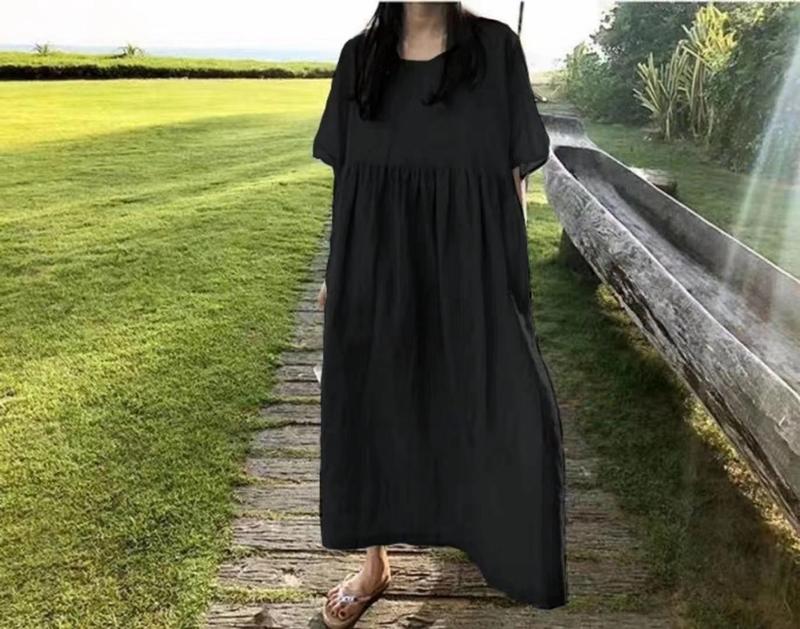 韓国 ファッション ワンピース 夏 春 カジュアル PTXI727  ゆったり ビッグシルエット マキシ リゾート オルチャン シンプル 定番 セレカジの写真6枚目