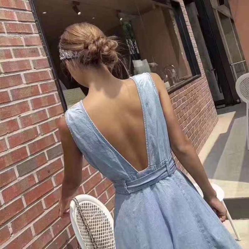 韓国 ファッション ワンピース 夏 春 カジュアル PTXI733  デニム 深Vネック バックコンシャス 背中見せ オルチャン シンプル 定番 セレカジの写真3枚目