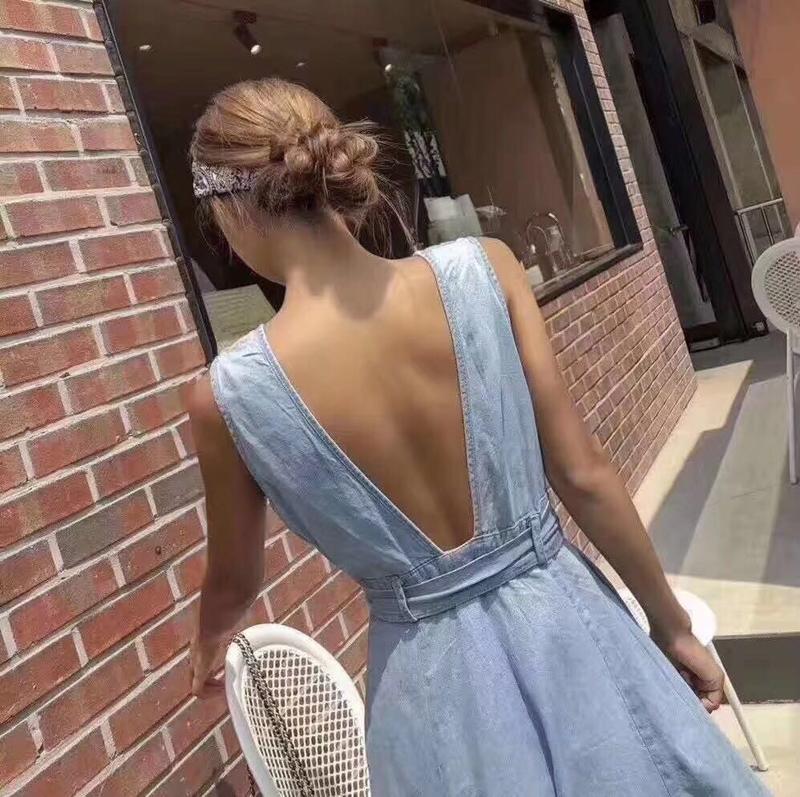 韓国 ファッション ワンピース 夏 春 カジュアル PTXI733  デニム 深Vネック バックコンシャス 背中見せ オルチャン シンプル 定番 セレカジの写真6枚目