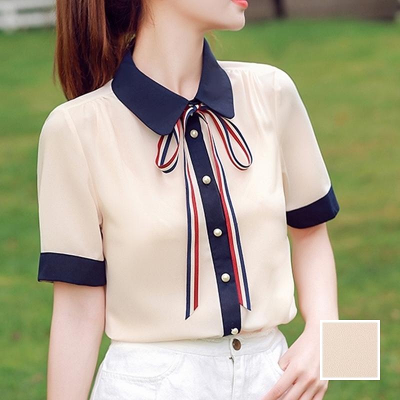 韓国 ファッション トップス ブラウス シャツ 夏 春 カジュアル PTXI735  シアー 襟付き トリコロール プレッピー オルチャン シンプル 定番 セレカジの写真1枚目