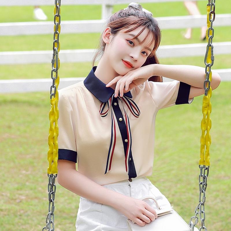 韓国 ファッション トップス ブラウス シャツ 夏 春 カジュアル PTXI735  シアー 襟付き トリコロール プレッピー オルチャン シンプル 定番 セレカジの写真2枚目