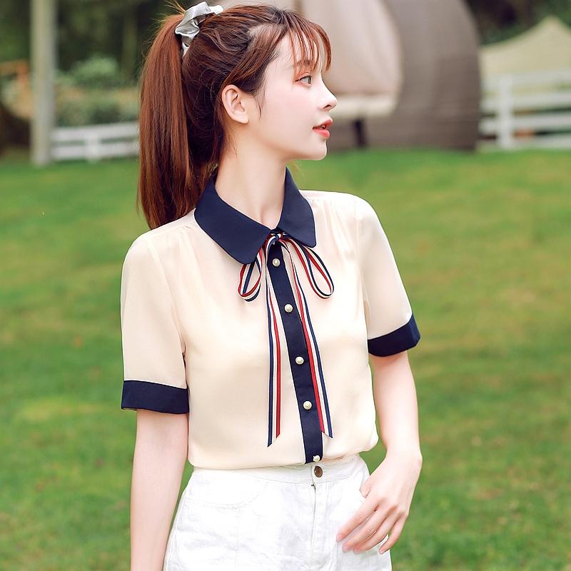 韓国 ファッション トップス ブラウス シャツ 夏 春 カジュアル PTXI735  シアー 襟付き トリコロール プレッピー オルチャン シンプル 定番 セレカジの写真3枚目