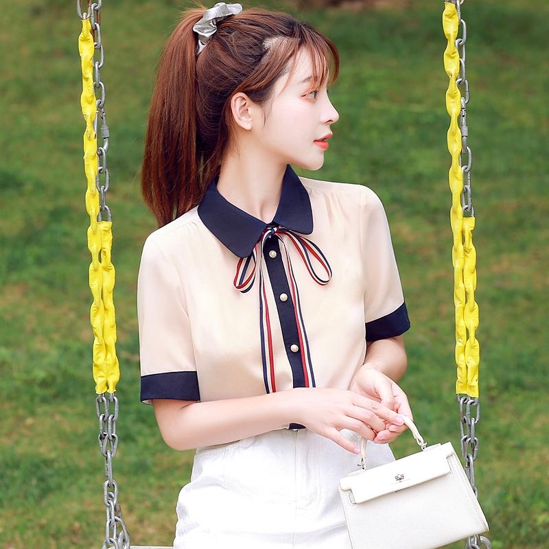 韓国 ファッション トップス ブラウス シャツ 夏 春 カジュアル PTXI735  シアー 襟付き トリコロール プレッピー オルチャン シンプル 定番 セレカジの写真4枚目