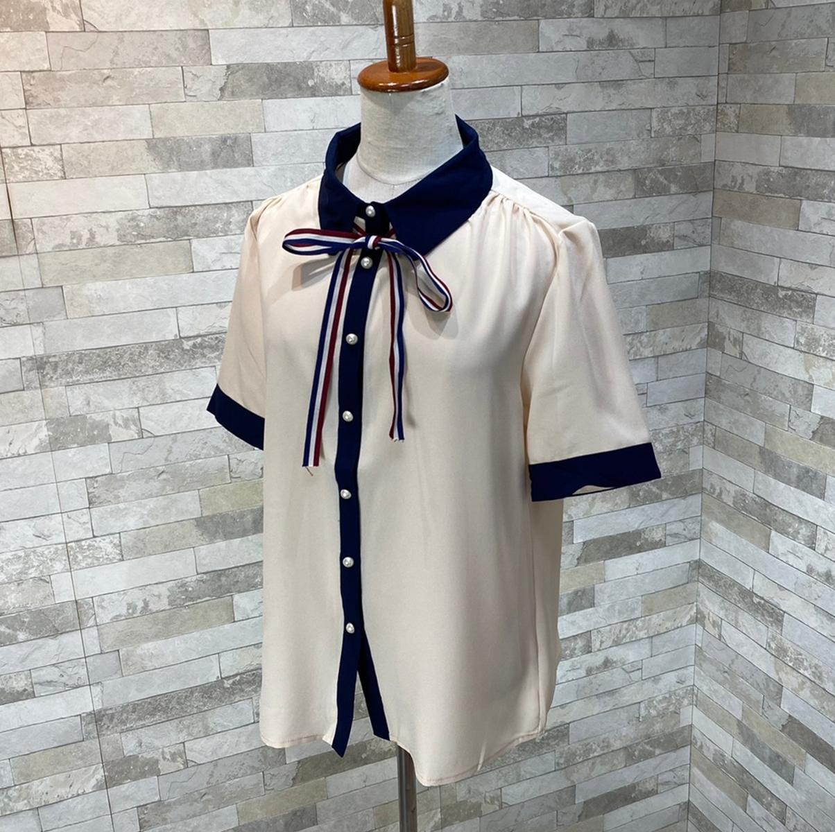 韓国 ファッション トップス ブラウス シャツ 夏 春 カジュアル PTXI735  シアー 襟付き トリコロール プレッピー オルチャン シンプル 定番 セレカジの写真5枚目