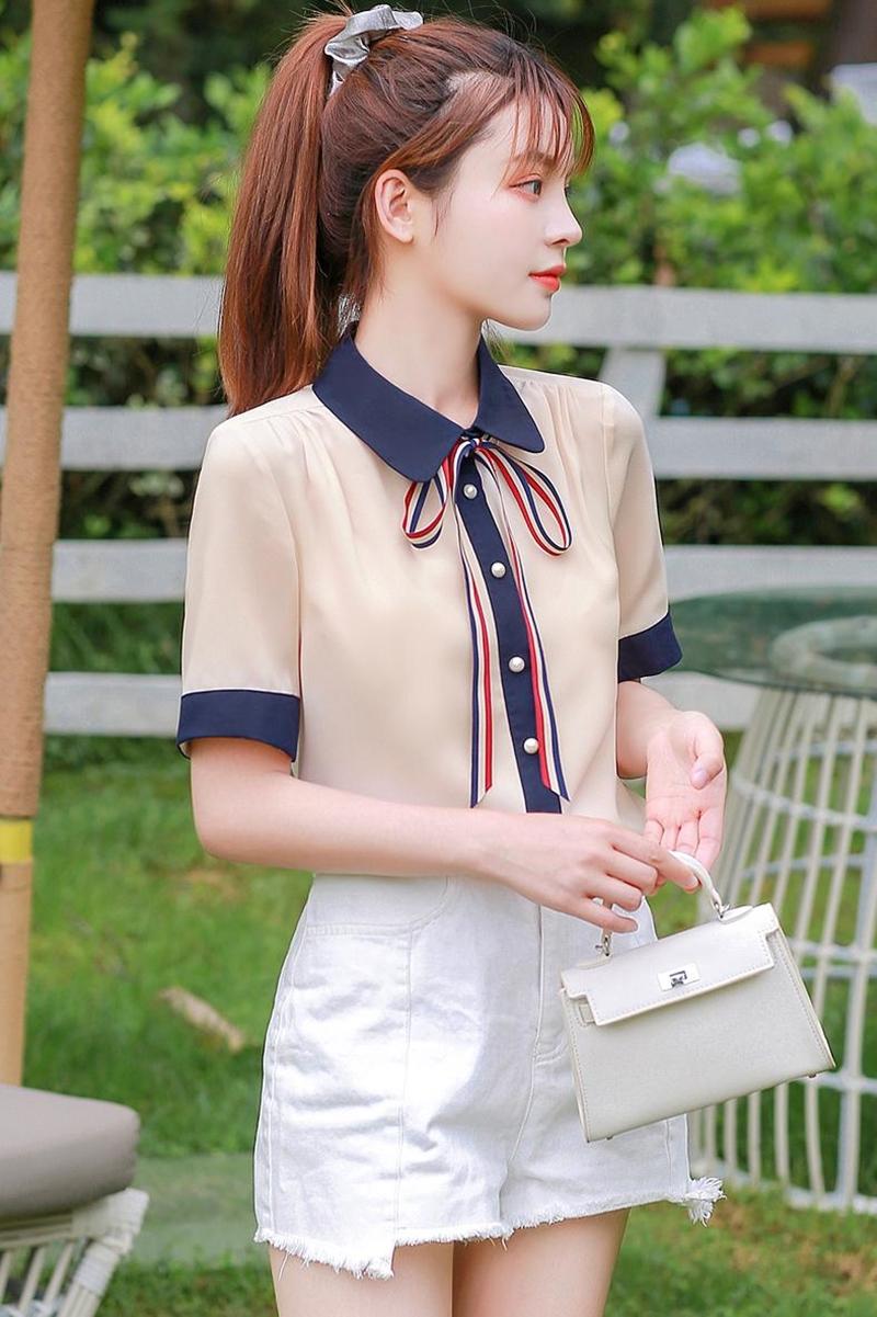 韓国 ファッション トップス ブラウス シャツ 夏 春 カジュアル PTXI735  シアー 襟付き トリコロール プレッピー オルチャン シンプル 定番 セレカジの写真6枚目