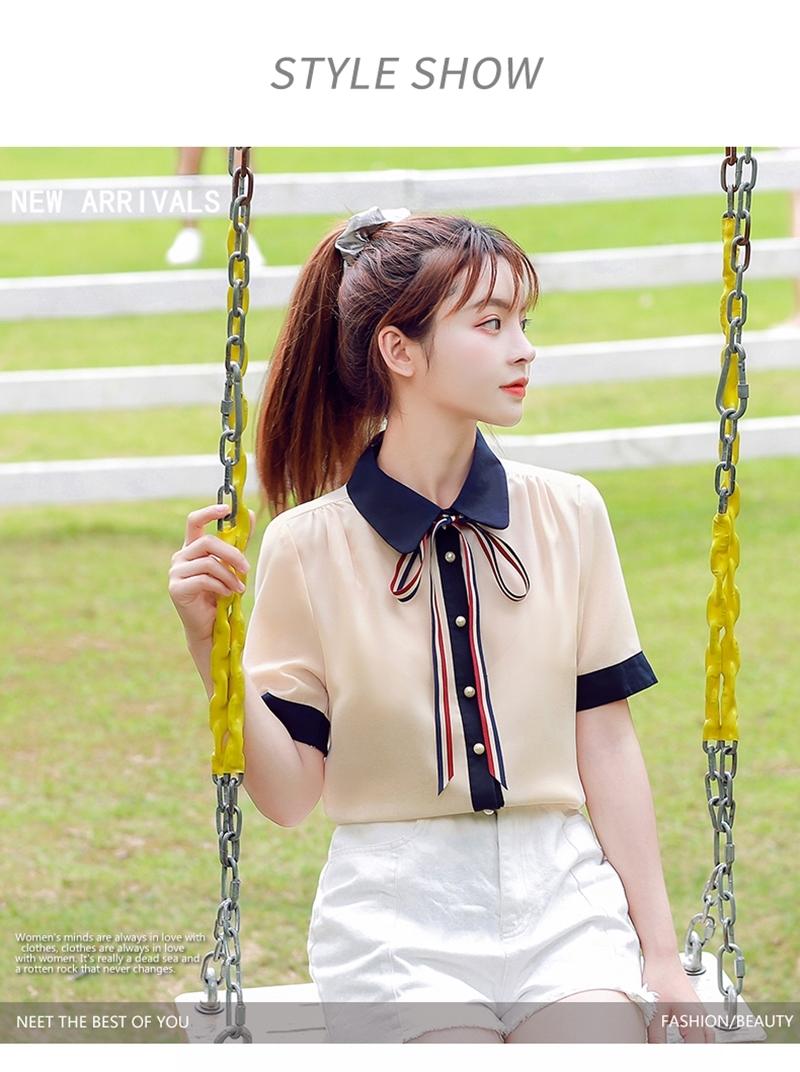 韓国 ファッション トップス ブラウス シャツ 夏 春 カジュアル PTXI735  シアー 襟付き トリコロール プレッピー オルチャン シンプル 定番 セレカジの写真7枚目
