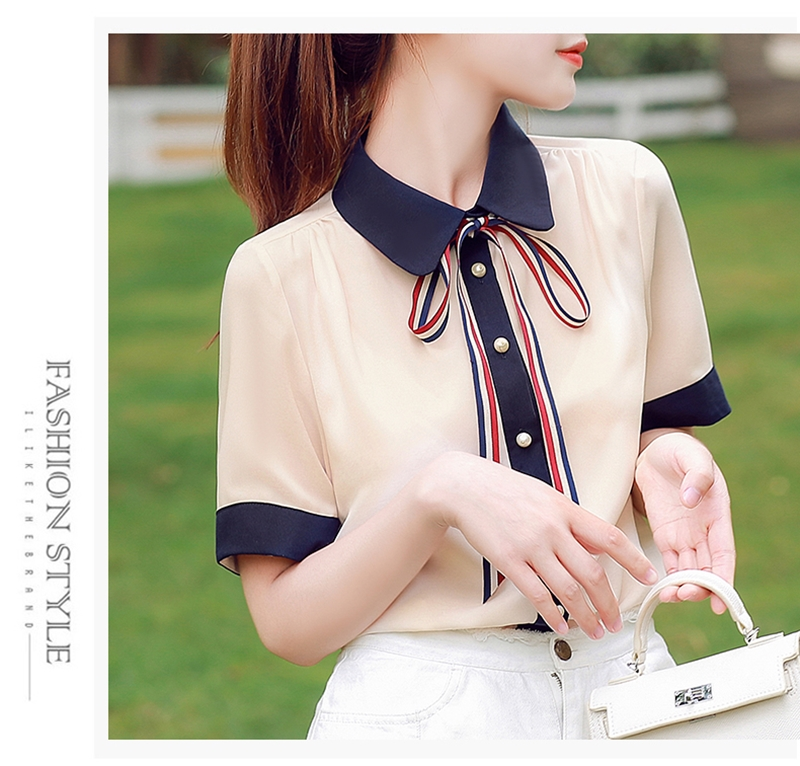 韓国 ファッション トップス ブラウス シャツ 夏 春 カジュアル PTXI735  シアー 襟付き トリコロール プレッピー オルチャン シンプル 定番 セレカジの写真8枚目