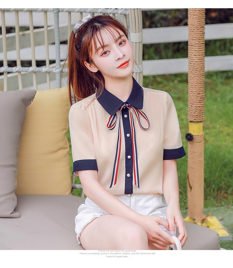 韓国 ファッション トップス ブラウス シャツ 夏 春 カジュアル PTXI735  シアー 襟付き トリコロール プレッピー オルチャン シンプル 定番 セレカジの写真9枚目
