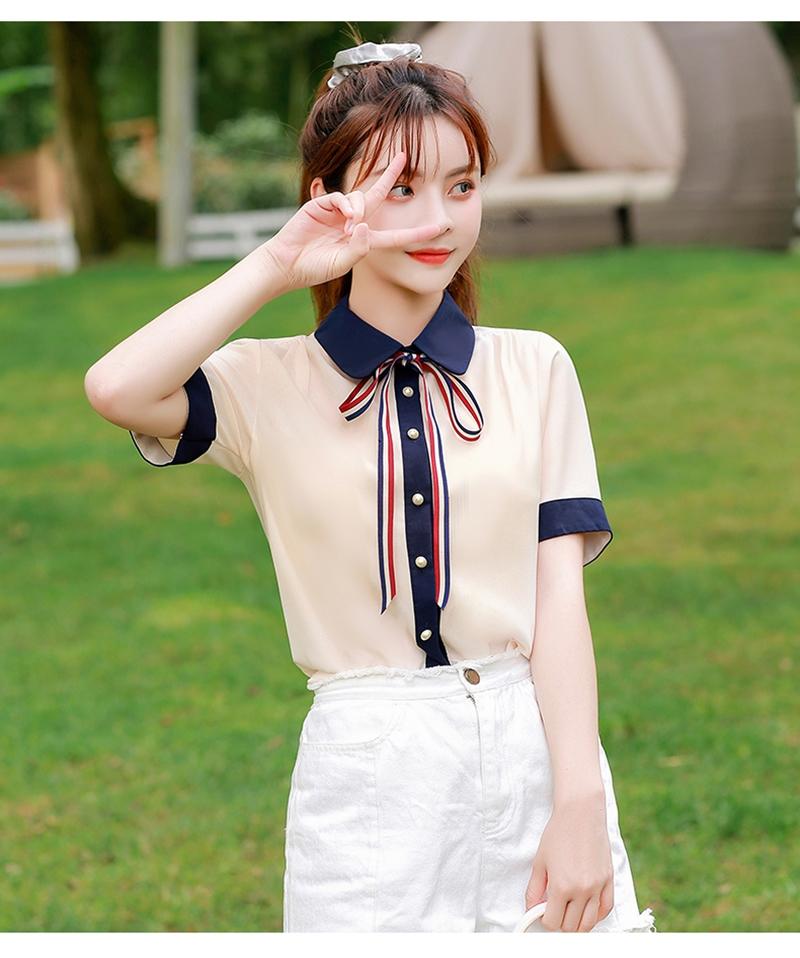 韓国 ファッション トップス ブラウス シャツ 夏 春 カジュアル PTXI735  シアー 襟付き トリコロール プレッピー オルチャン シンプル 定番 セレカジの写真11枚目