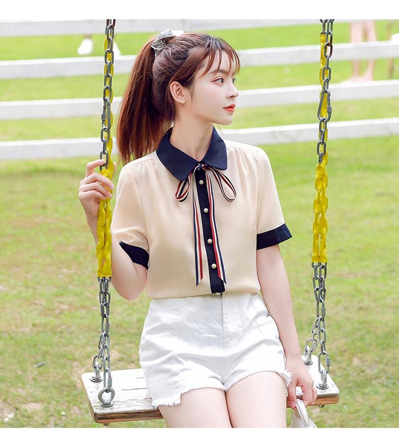 韓国 ファッション トップス ブラウス シャツ 夏 春 カジュアル PTXI735  シアー 襟付き トリコロール プレッピー オルチャン シンプル 定番 セレカジの写真13枚目