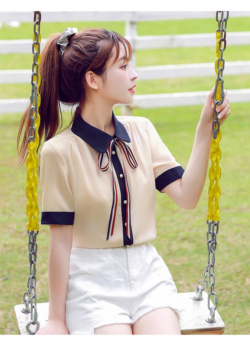 韓国 ファッション トップス ブラウス シャツ 夏 春 カジュアル PTXI735  シアー 襟付き トリコロール プレッピー オルチャン シンプル 定番 セレカジの写真14枚目