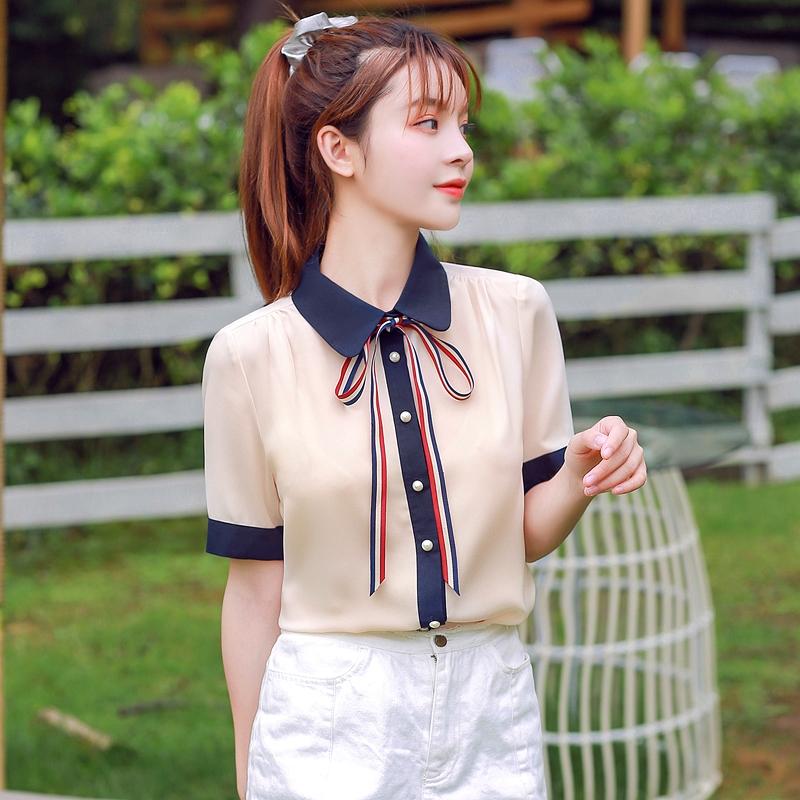 韓国 ファッション トップス ブラウス シャツ 夏 春 カジュアル PTXI735  シアー 襟付き トリコロール プレッピー オルチャン シンプル 定番 セレカジの写真16枚目