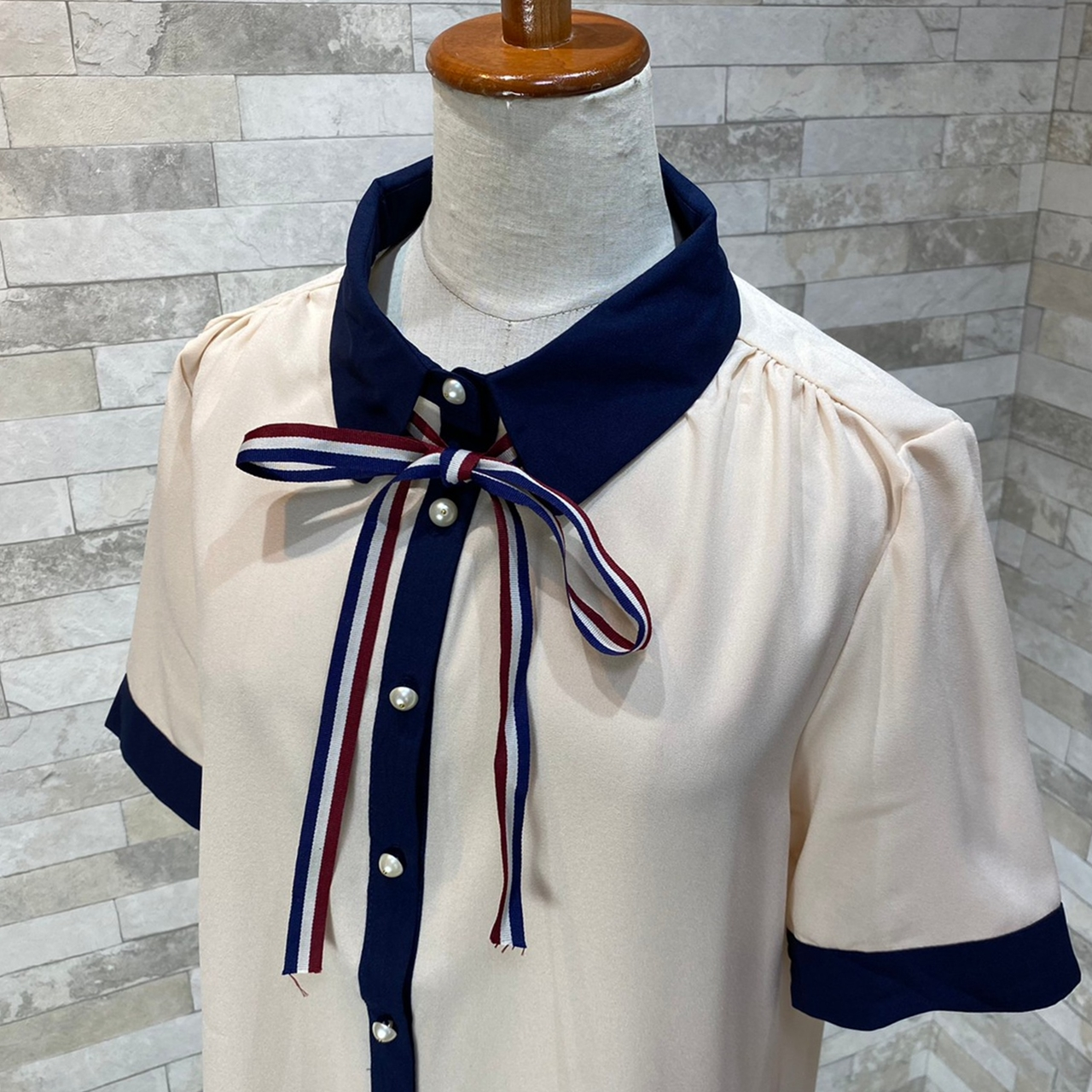 韓国 ファッション トップス ブラウス シャツ 夏 春 カジュアル PTXI735  シアー 襟付き トリコロール プレッピー オルチャン シンプル 定番 セレカジの写真17枚目