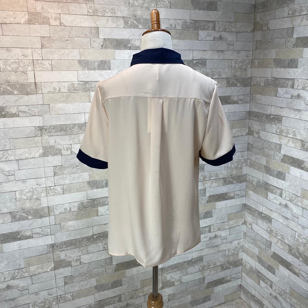 韓国 ファッション トップス ブラウス シャツ 夏 春 カジュアル PTXI735  シアー 襟付き トリコロール プレッピー オルチャン シンプル 定番 セレカジの写真18枚目