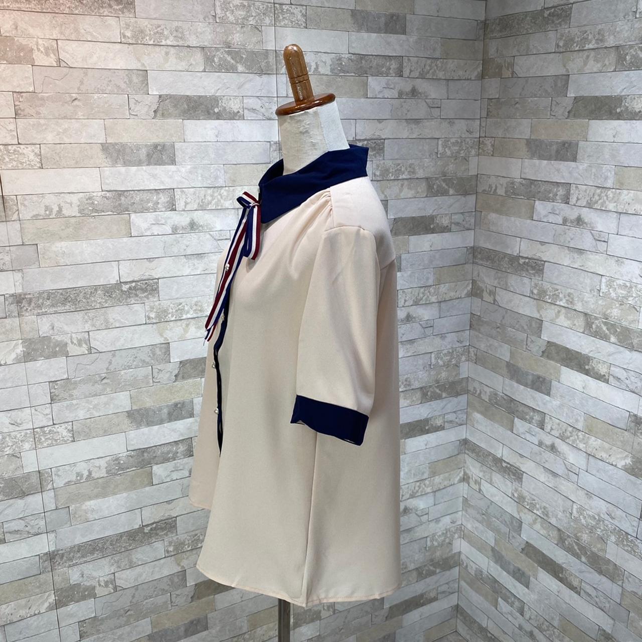 韓国 ファッション トップス ブラウス シャツ 夏 春 カジュアル PTXI735  シアー 襟付き トリコロール プレッピー オルチャン シンプル 定番 セレカジの写真19枚目