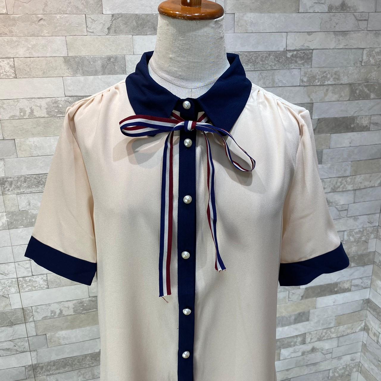韓国 ファッション トップス ブラウス シャツ 夏 春 カジュアル PTXI735  シアー 襟付き トリコロール プレッピー オルチャン シンプル 定番 セレカジの写真20枚目