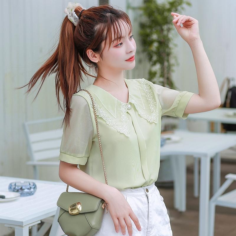 韓国 ファッション トップス ブラウス シャツ 夏 春 カジュアル PTXI736  レース ビッグカラー シアー パールボタン オルチャン シンプル 定番 セレカジの写真3枚目