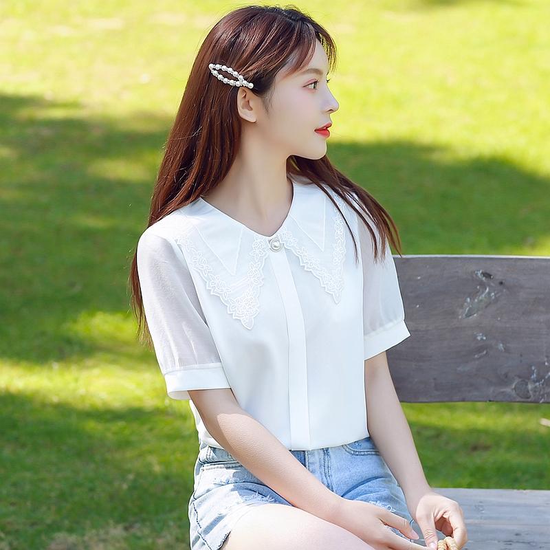 韓国 ファッション トップス ブラウス シャツ 夏 春 カジュアル PTXI736  レース ビッグカラー シアー パールボタン オルチャン シンプル 定番 セレカジの写真4枚目