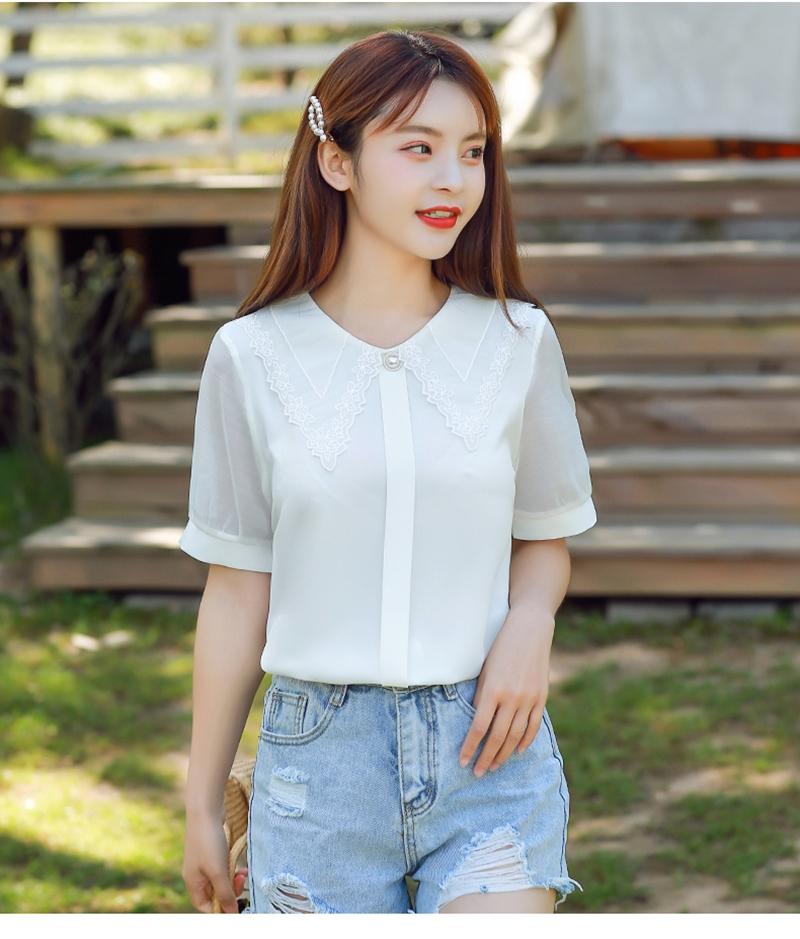 韓国 ファッション トップス ブラウス シャツ 夏 春 カジュアル PTXI736  レース ビッグカラー シアー パールボタン オルチャン シンプル 定番 セレカジの写真7枚目