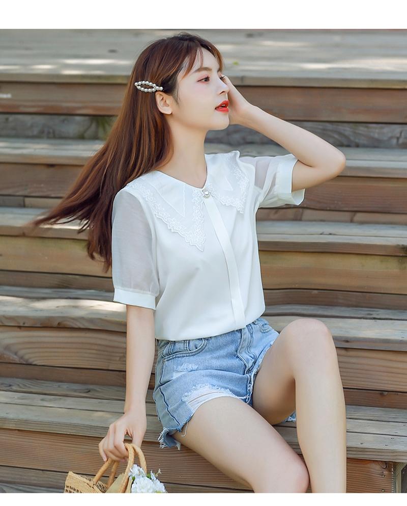 韓国 ファッション トップス ブラウス シャツ 夏 春 カジュアル PTXI736  レース ビッグカラー シアー パールボタン オルチャン シンプル 定番 セレカジの写真9枚目