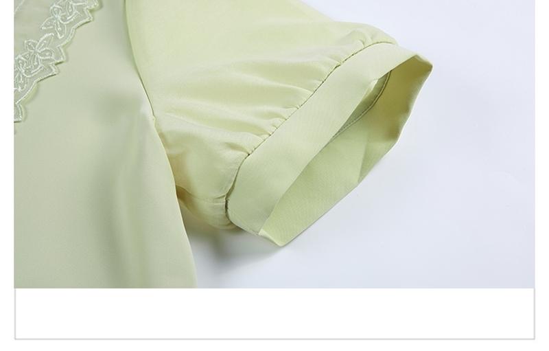 韓国 ファッション トップス ブラウス シャツ 夏 春 カジュアル PTXI736  レース ビッグカラー シアー パールボタン オルチャン シンプル 定番 セレカジの写真18枚目