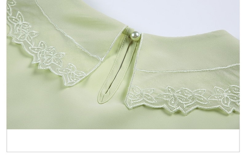 韓国 ファッション トップス ブラウス シャツ 夏 春 カジュアル PTXI736  レース ビッグカラー シアー パールボタン オルチャン シンプル 定番 セレカジの写真19枚目