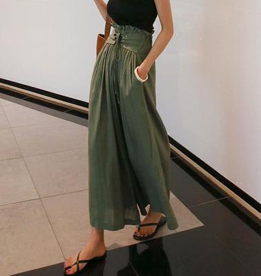 韓国 ファッション パンツ ボトムス 春 夏 秋 カジュアル PTXI744  レースアップ たっぷり ギャザー リネン風  オルチャン シンプル 定番 セレカジの写真3枚目