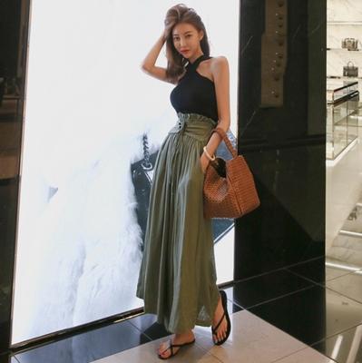 韓国 ファッション パンツ ボトムス 春 夏 秋 カジュアル PTXI744  レースアップ たっぷり ギャザー リネン風  オルチャン シンプル 定番 セレカジの写真4枚目