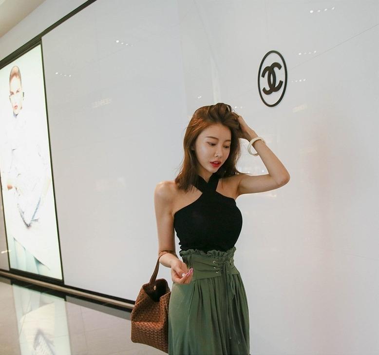 韓国 ファッション パンツ ボトムス 春 夏 秋 カジュアル PTXI744  レースアップ たっぷり ギャザー リネン風  オルチャン シンプル 定番 セレカジの写真8枚目