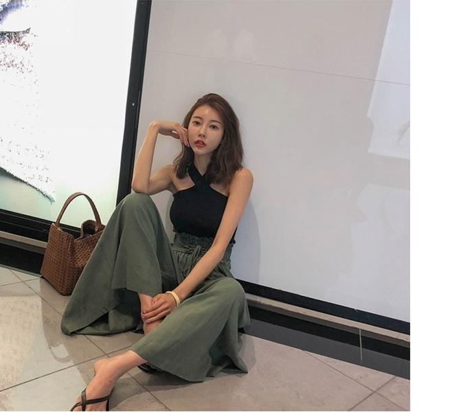 韓国 ファッション パンツ ボトムス 春 夏 秋 カジュアル PTXI744  レースアップ たっぷり ギャザー リネン風  オルチャン シンプル 定番 セレカジの写真9枚目