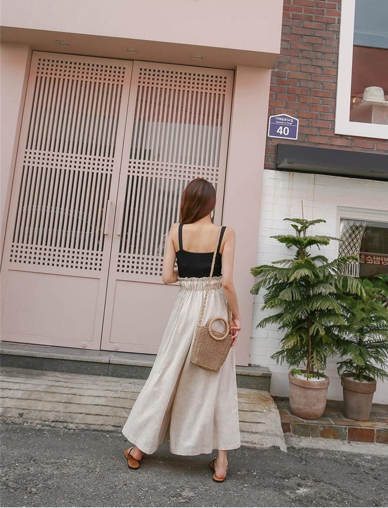 韓国 ファッション パンツ ボトムス 春 夏 秋 カジュアル PTXI744  レースアップ たっぷり ギャザー リネン風  オルチャン シンプル 定番 セレカジの写真18枚目