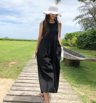 韓国 ファッション オールインワン オーバーオール 春 夏 カジュアル PTXI752  リネン風 ナチュラルテイスト ワイド ギャザー オルチャン シンプル 定番 セレカジの写真4枚目