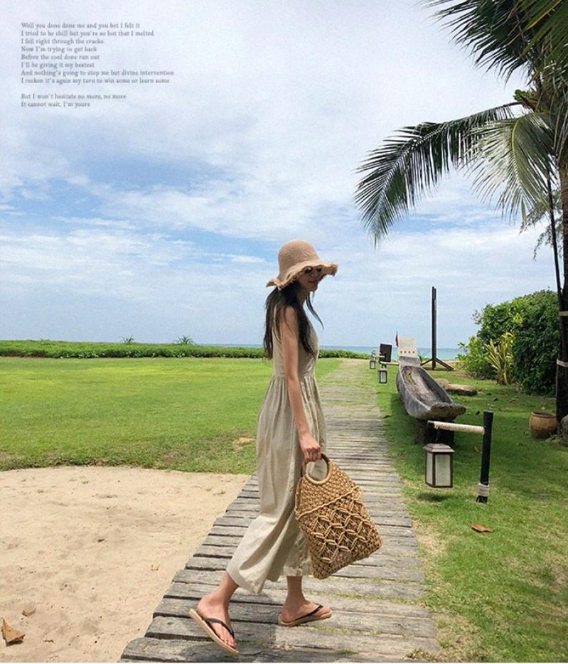 韓国 ファッション オールインワン オーバーオール 春 夏 カジュアル PTXI752  リネン風 ナチュラルテイスト ワイド ギャザー オルチャン シンプル 定番 セレカジの写真6枚目