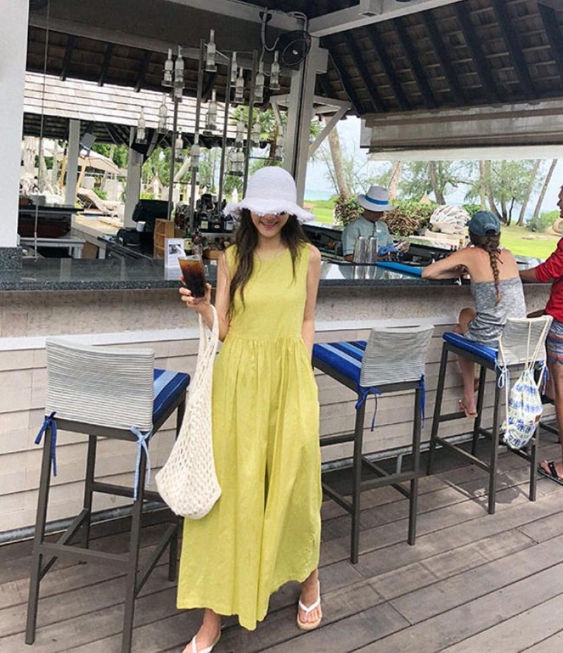 韓国 ファッション オールインワン オーバーオール 春 夏 カジュアル PTXI752  リネン風 ナチュラルテイスト ワイド ギャザー オルチャン シンプル 定番 セレカジの写真14枚目