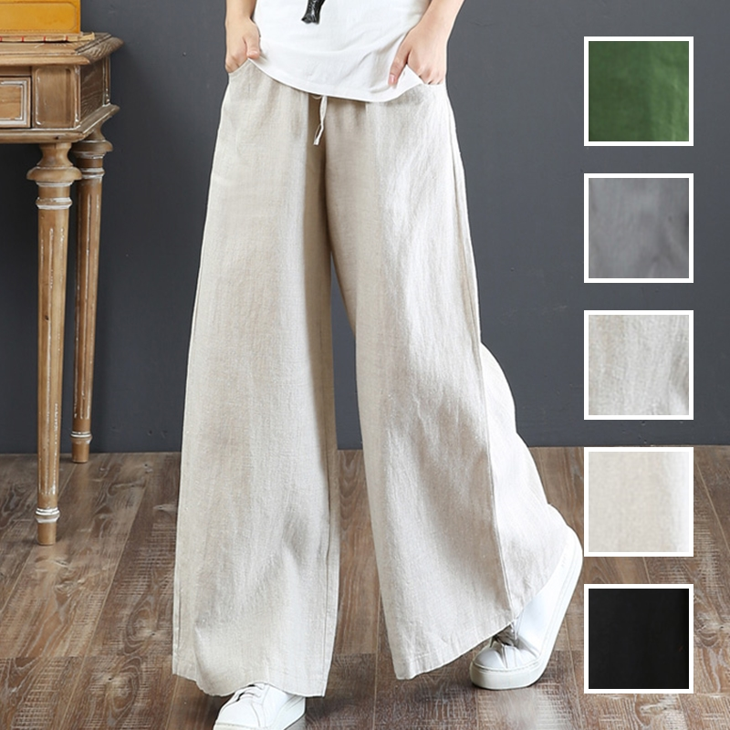 韓国 ファッション パンツ ボトムス 春 夏 秋 カジュアル PTXI780  ゆったり ワイド リネン風 ナチュラルテイスト オルチャン シンプル 定番 セレカジの写真1枚目