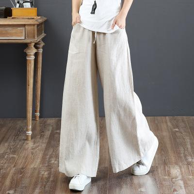 韓国 ファッション パンツ ボトムス 春 夏 秋 カジュアル PTXI780  ゆったり ワイド リネン風 ナチュラルテイスト オルチャン シンプル 定番 セレカジの写真2枚目